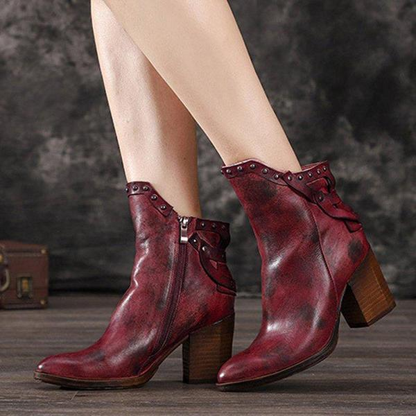 Jolimall PU Block Heel Winter Rivet Boots