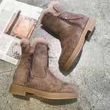 Jolimall Casual WarmPlain Round Toe Zipper Boots