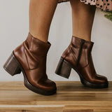 Jolimall Casual Faux Leather Round Toe Boots