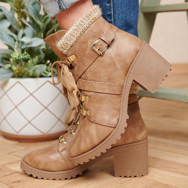 Jolimall Casual Round Toe Lace-up Chunky Heel Boots