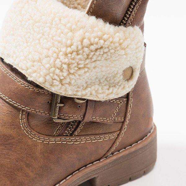 Jolimall Women Low Heel Zipper Ankle Snow Boots
