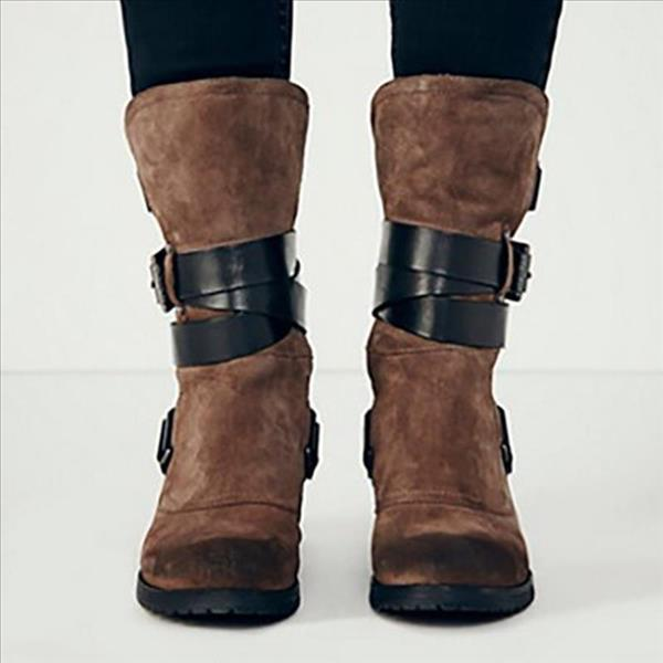 Jolimall Plus Size Stylish Suede Chunky Heel Mid Boots