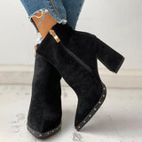 Jolimall Solid Pointed Toe Zipper Chunky Heeled Boots