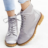 Jolimall Fashion Velvet Round Toe Lace-Up Boots