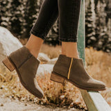 Jolimall Casual Point Toe Zipper Chunky Heels Boots