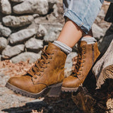 Jolimall Trendy Combat Lace-up Chunky Heel Booties