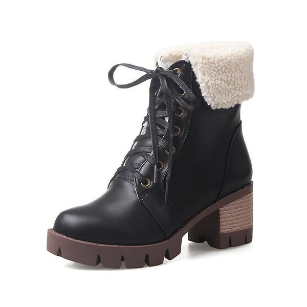 Jolimall Chunky Heel Fall Pu Lace-Up Boots
