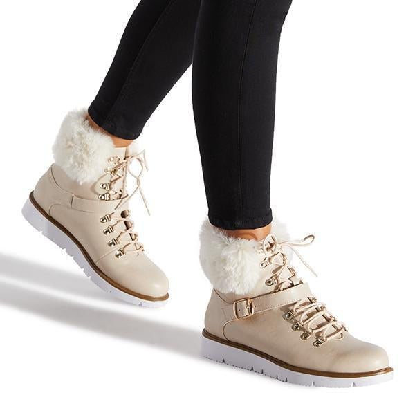Jolimall Winter PU Faux Fur Lace-Up Booties