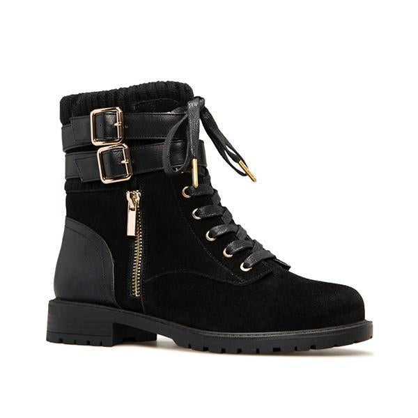 Jolimall Fashion Stylish Zipper Shoes Lace-Up Boots