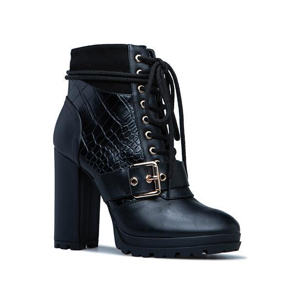Jolimall Fashion Faux Leather Lace-Up Boots