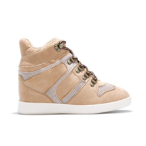 Jolimall Fashion Faux Suede Lace Up Wedge Heel Sneakers