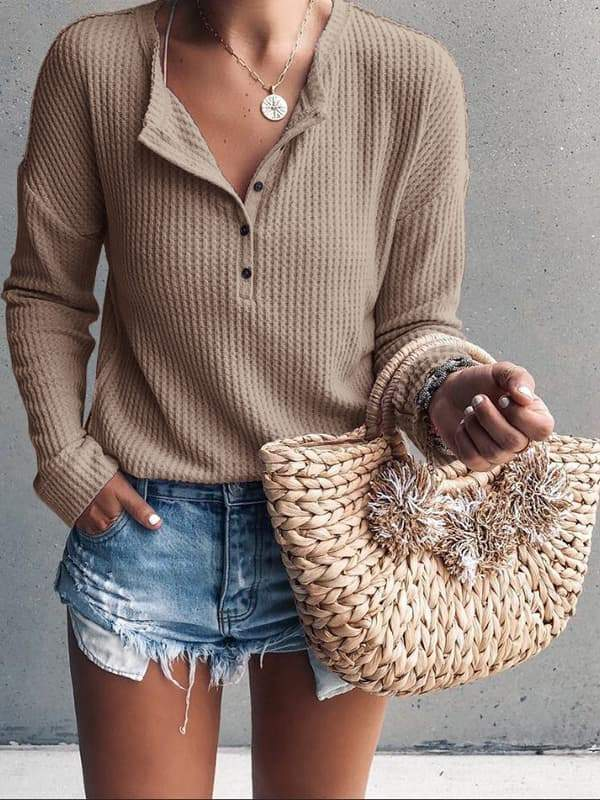 Jolimall Knit Long Sleeve Button Blouse