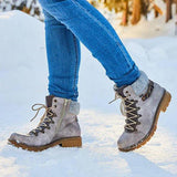 Jolimall Women Round Toe Lace-up Winter Warm Snow Boots