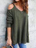 Jolimall Long Sleeve Round Neck Off-the-shoulder Sweater