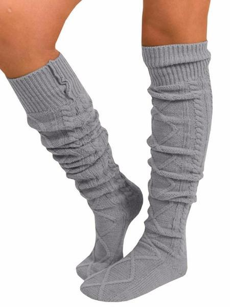 Jolimall Women Fuzzy Socks Winter Knee High Cable Knit Comfy Boot Socks