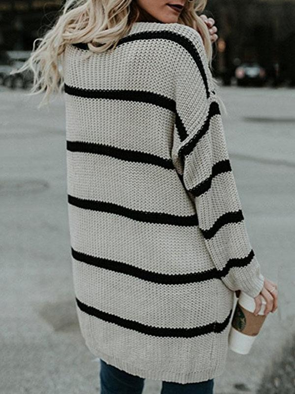 Jolimall Long Sleeve Basic Striped Shift Knitted Sweater