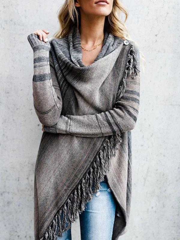 Jolimall Knitted Stripes Asymmetrical Cardigan Sweater