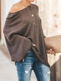 Jolimall Khaki Crew Neck Knitted Solid Casual Batwing Sweater