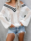 Jolimall Fashion V Neck Hollow out Sweater