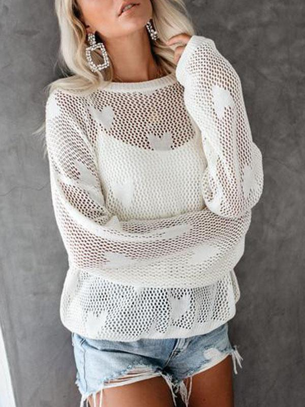 Jolimall Love Pattern Hollow Out Breathable Sweater