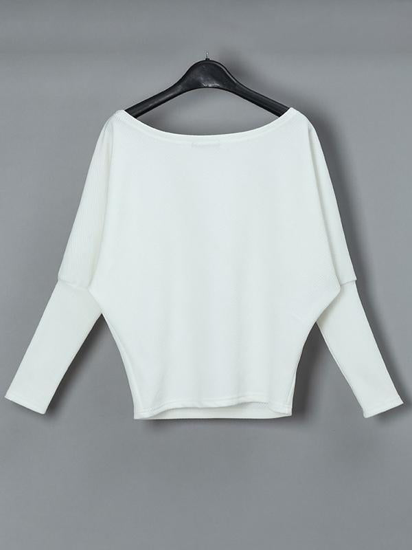Jolimall Skew Neck Batwing Sleeve Casual Sweater