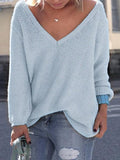 Jolimall Casual Knitted V Neck Long Sleeve Solid Sweater