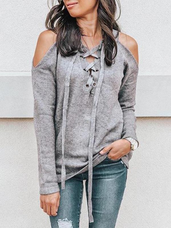 Jolimall Lace Up Cold Shoulder Sweater