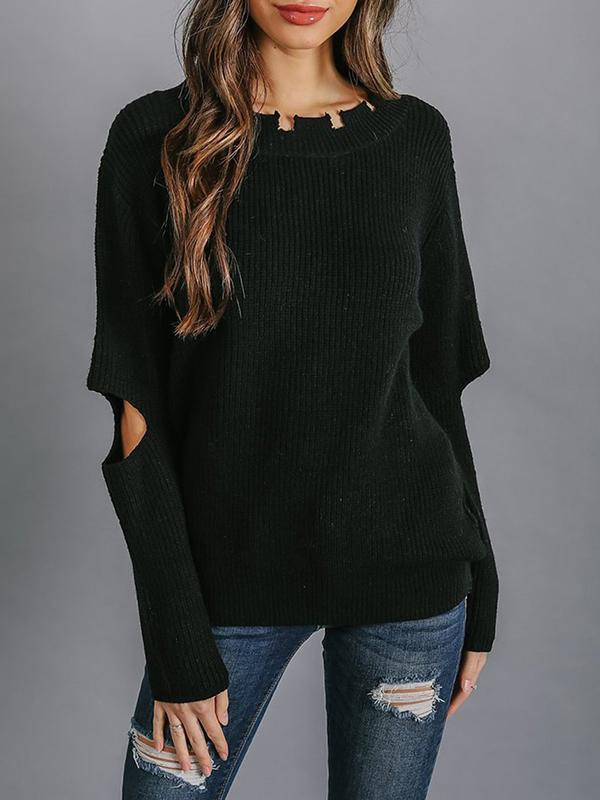 Jolimall Solid Casual Shift Ribbed Crew Neck Sweater