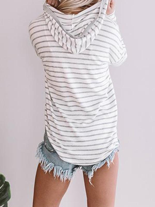 Jolimall Casual V-Neck Long Sleeve Stripe Sweater
