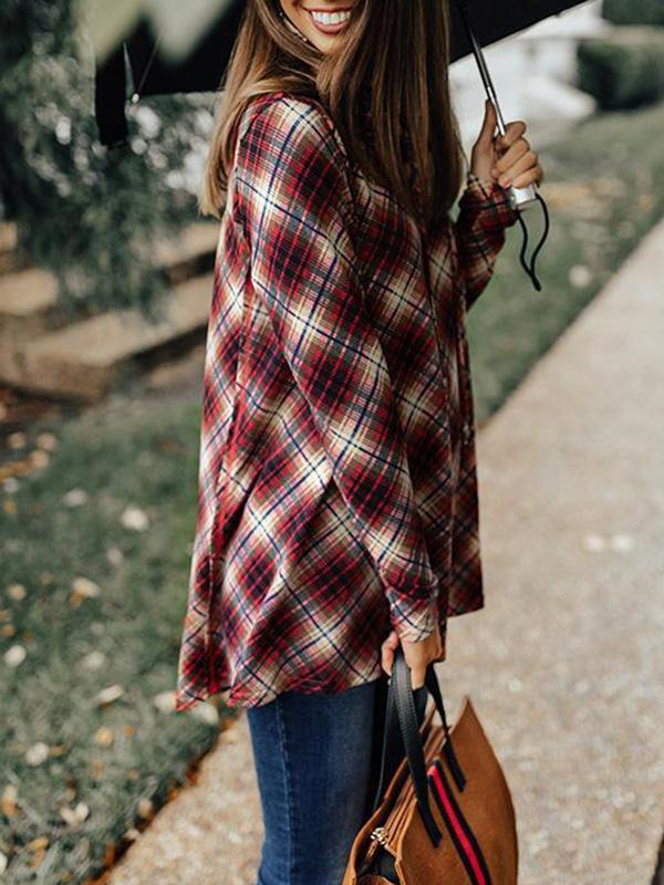 Jolimall Crushing At The Cabin Plaid Shift Sweater