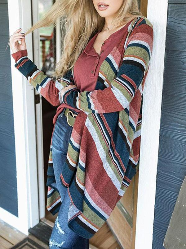 Jolimall Casual Long Sleeve Toast Stripe Cardigan