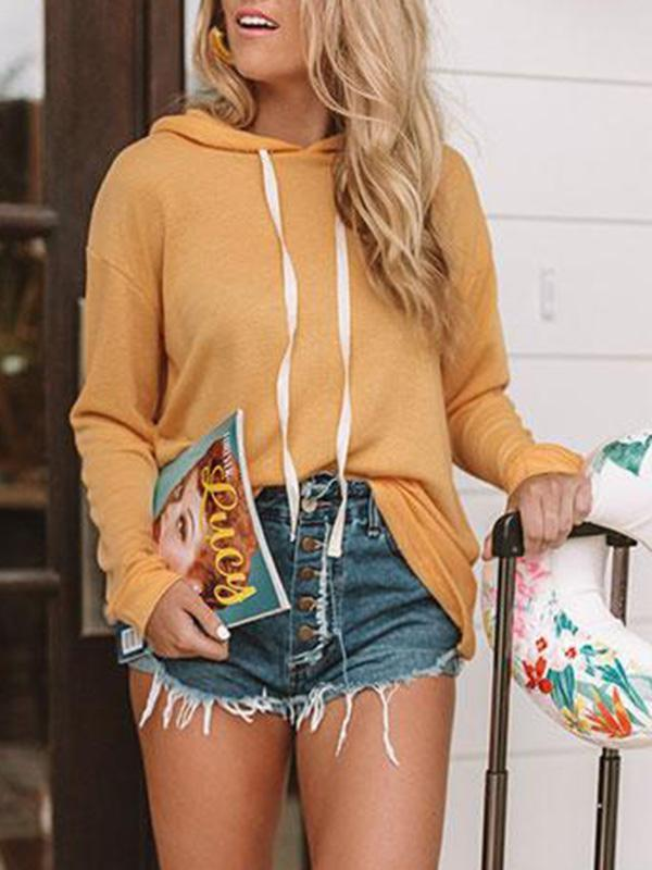 Jolimall Casual Solid Long Sleeve Hooded Sweater