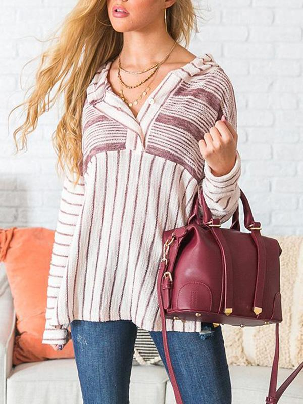 Jolimall Casual Long Sleeve Loose Striped Sweater