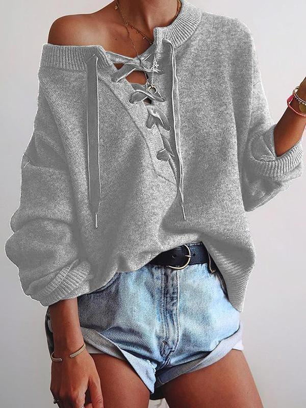 Jolimall Solid Lace-Up Loose Knitted Sweater
