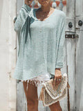 Jolimall V Neck High Low Hem Oversized Sweater