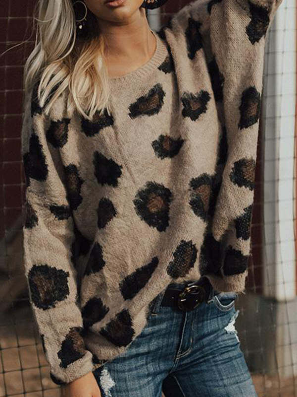Jolimall Leopard & Lattes Shift Sweater