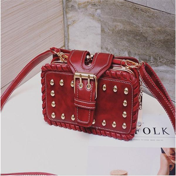 Jolimall Rivet Faux Leather Buckle Shoulder Bag