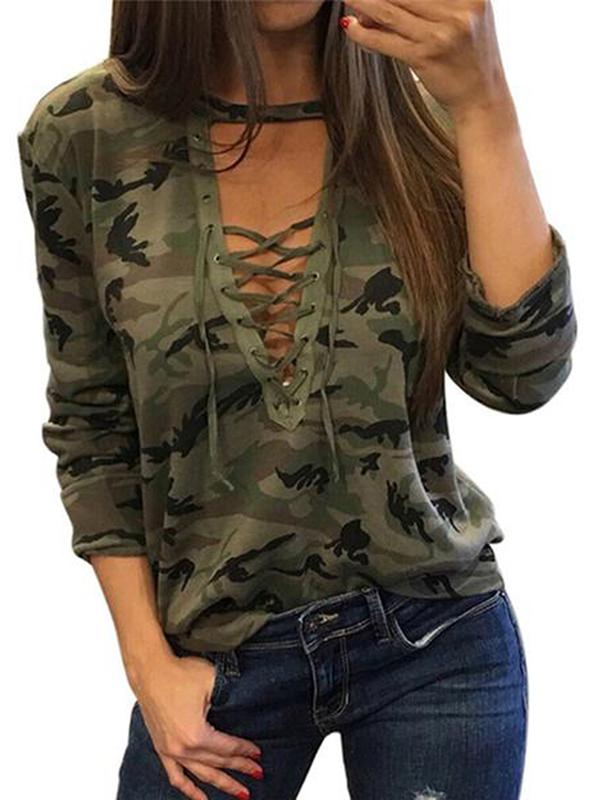 Women Women's Camo Shirts Camouflage Print Choker V Neck Long Sleeve Lace Up Slim Tops Blouse