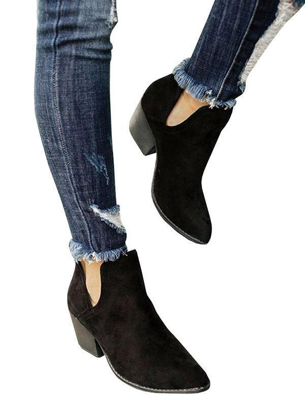 Jolimall Cut Out Booties Ankle Heels Boots