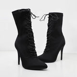 Jolimall Black Wide Fit Lace Up Sock Boot