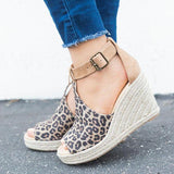 Jolimall Chic Espadrille Wedges Adjustable Buckle Sandals