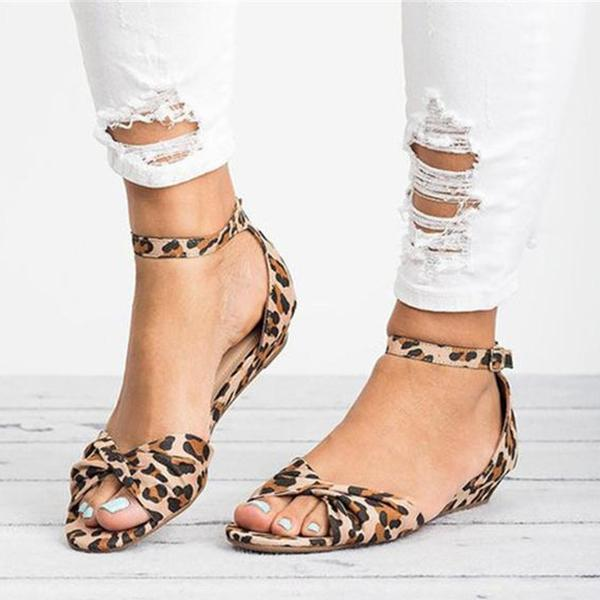 Jolimall Casual Leopard Adjustable Buckle Sandals