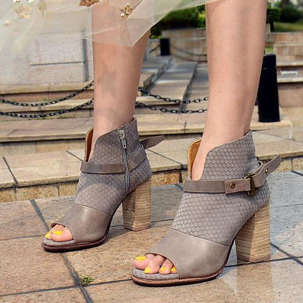 Jolimall Peep Toe Buckle Strap Chunky Heel Ankle Boots