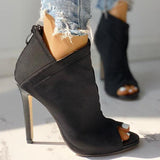 Jolimall Solid Peep Toe Zipper Up Thin Heeled Boots