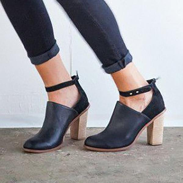 Jolimall Retro Ankle Strap Chunky Heel Ankle Boots