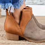 Jolimall Faux Leather Two-Toned Booties