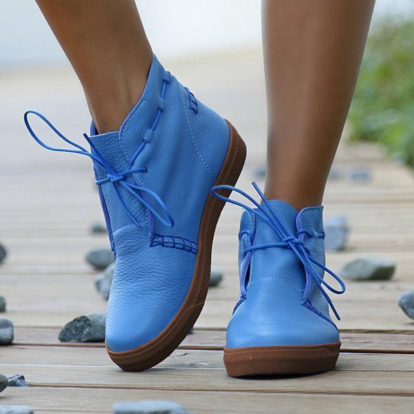 Jolimall  Soft Leather Lace Up Chunky Heel Ankle Boots