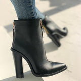 Jolimall Pointed Toe Zipper Design Chunky Heeled Boots
