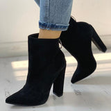 Jolimall Solid Pointed Toe Zipper Back Boots
