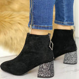 Jolimall Casual Point Toe Sequins Chunky Heeled Boots